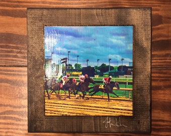 And They're Off Derby Race Wooden Art