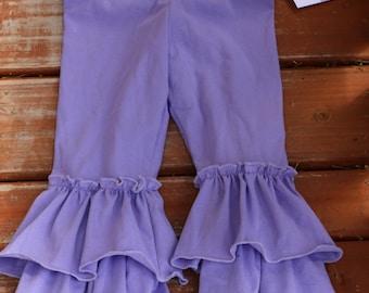 lavender purple double ruffle leggings sizes 12m - 14 girls