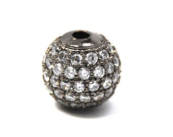 Clear Crystal Gunmetal Cubic Zirconia Beads, 8mm Round