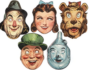 Printable Group Costume DIY Halloween Masks Group Costume Paper Masks Wizard of Oz Kids Adults Couple Family Intant Digital Download