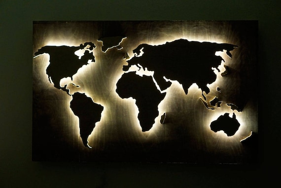 Led wood world map abstract art world map hanging world map 3d led wood world map abstract art world map hanging world map 3d wall decor world map office world map shining 3d modern art led wall art gumiabroncs Images