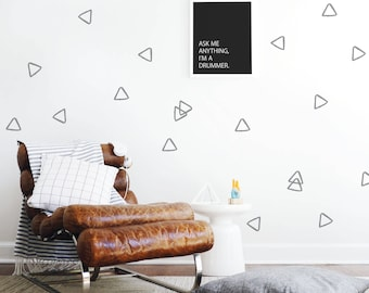 Kids Wall Decal Triangles Wall Decal Wall Decal Kids Gray Triangles Outline Wall Decal Monochrome Decor. Hollow Triangles Wall Decal