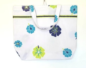 Reusable Shopping Bag Tote Bag | Navy Lime Turquoise Flowers | Upcycled Repurposed Fabric | Cloth Market Grocery Bag