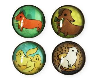 DOG magnet set, cute dog lover gift, cute fridge magnet, dog mom gift, dog artwork, boygirlparty, gifts for dog lovers, dog decor