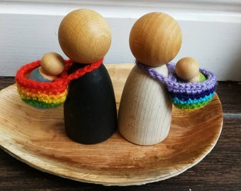 Pair of Rainbow baby carriers / pixie hats for Giant Nins