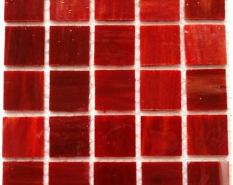"""20mm (3/4"""") Cranberry Red STAINED GLASS Mosaic Tiles//Craft Supplies//Mosaic Pieces//Mosaic Supplies"""