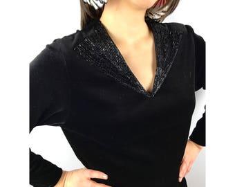 Vintage black velvet top with beaded collar