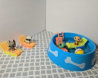 Littlest Pet Shop Custom Swimming Pool + accessories for LPS (7 Pieces)