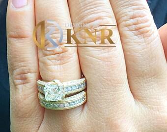Large Heavy Women's 14k solid yellow gold princess cut natural diamond engagement ring and band Bridal Wedding 3.00ct