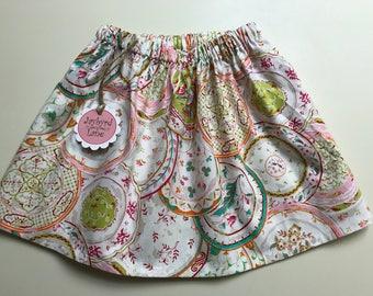 Alice in Wonderland Tea Party- Handmade Girls Skirt 4-7 - Ready to Ship