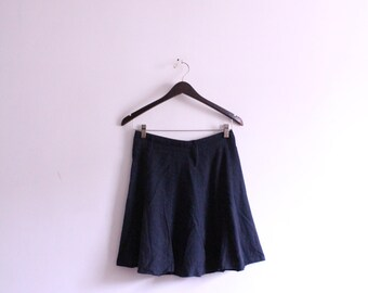 Navy Linen 90s Mini Skirt