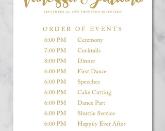 Order of events wedding template Wedding order of events sign