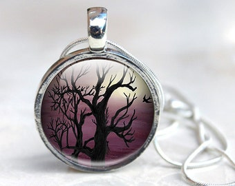 Glass Pendant - Tree Jewelry - Picture Pendant Necklace - Glass Tree Necklace (GPTJ1)