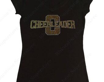 """Women's Rhinestone T-Shirt """" Gold Cheerleader """" in S, M, L, 1x, 2x, 3x"""