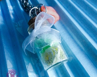 Green/Yellow Roses Bottle Charm Necklace