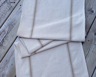 Grain Sack Table Runner Tan Stripe