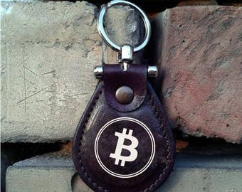 Bitcoin Leather Keychain - FREE Shipping Worldwide - Cryptocurrency Logo Keychain Bitcoin Logo Keychain Ethereneum Litecoin BTC Keychain
