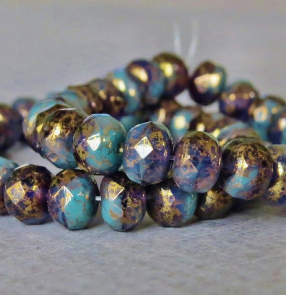 Faceted Rondelle Tanzanite: 7x5mm Turquoise Tanzanite Czech Glass Beads Faceted Rondelle