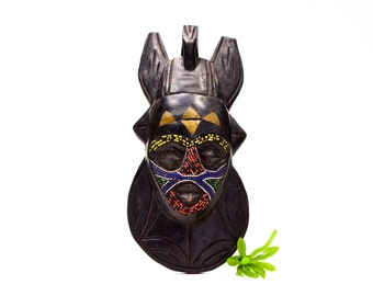VINTAGE: African Beaded Wood Mask - Brass Inlayed Mask - Tribe Handmade Festivals Ceremonial Mask - Ghana Mask - SKU 24-A-00012255