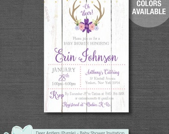 Deer Antlers Baby Shower Invitation Printable Purple, Girl, Baby Shower Invite, Oh Deer, Wood, 7D