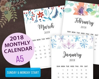 2018 Calendar, 2018 Monthly Calendar, Printable Wall Calendar, Watercolor, Handletter, Desk Calendar, 12 Month Calendar, Calligraphy, A5