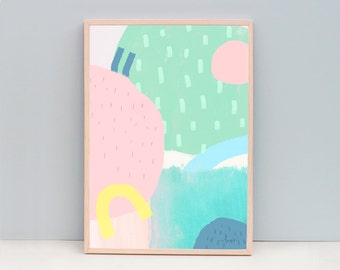 Large Minimal Modern Art, Nursery Art, Minimalist Art Print, Pastel Color Art, Abstract Painting, Contemporary Print, Spring Color Art