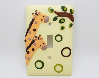 Giraffe Light Switch Cover or Outlet Cover - Jungle Nursery Decor - Children's Safari Themed Nursery Decor - Polymer Clay - Toggle or Rocker