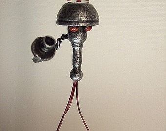 Martian Alien Tripod Robot with Red Blood Dome and Legs Wood Statue Figure