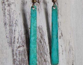 Verdigris Patina Brass Stick Earrings- Green Blue Dangle Drop Bohemian Earrings -Long Bar Earrings-Boho Earrings-Rustic Woodland Earrings