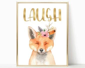 Cute fox, nursery wall art, woodland theme, woodland fox, fox wall art, fox baby shower, nature nursery, nursery decor, Nursery printable