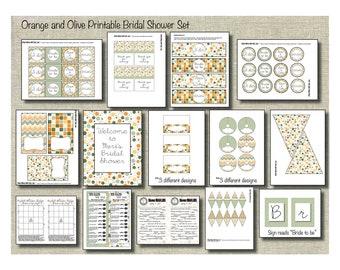 Orange and Olive Printable Bridal Shower Set