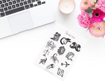 Drawn Zodiac Stickerset-watercolour sticker-Pretty planning-scrapbooking-bullet journaling