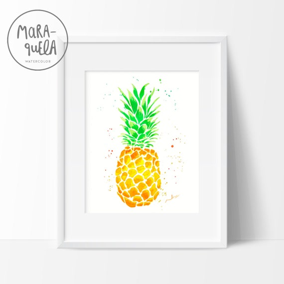 Piña Amarilla y verde / Yellow and Green Pineapple Watercolor