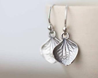 Tiny Sterling Silver Petal Earrings | Small Silver Dangle Leaf Earrings Handmade | Gardening Gift for Women | Handmade Jewelry by Burnish