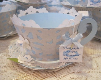 Alice In Wonderland Tea Cup Custom made Cupcake Wrappers - Cup and Saucer