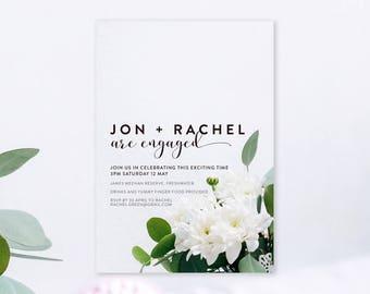 Engagement Invitation (Minimalistic Greenery) - Custom Designed - Digital Printable or Professionally Printed