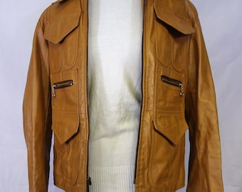 Tan Leather Jacket (white top not included)