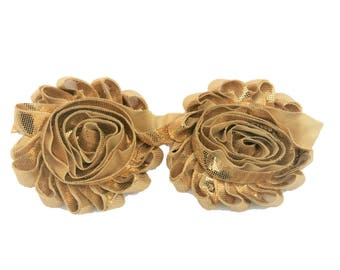 2 Pack Metallic Gold - Printed Rosette Trim, Fabric Flower, Craft Supplies, DIY Flower, DIY supplies, Embellishment