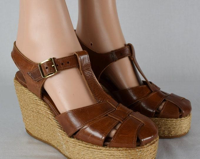 Nos Vintage 1970's Women's SBICCA Brown Leather Wedged PLaTfOrM HiPPiE BoHo Shoes Sandals Size 6.5 / 7N