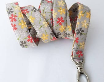 Breakaway Extra Long Safety Lanyard in Gray with Pansies for Nurses