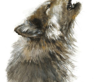 Wolf watercolor Painting - Giclee Print - Home Wall Decor - Wolf  Watercolor Illustration - Woodland animals Dorm Decor Wall