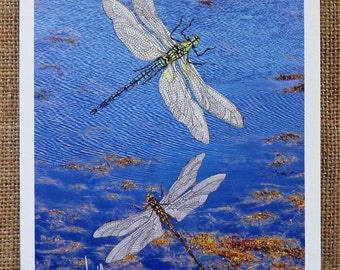 Dragonflies Card Dragonfly Card Nature Card Scenic Image Card - Blank Card Thinking of You Card Birthday Card Any Occasion Card Can frame