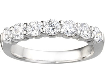 Classic 7 Stone Band .42ct Shared Prong Cubic Zirconia Set in Sterling Silver - Straight Wedding Band - Unique Anniversary Ring