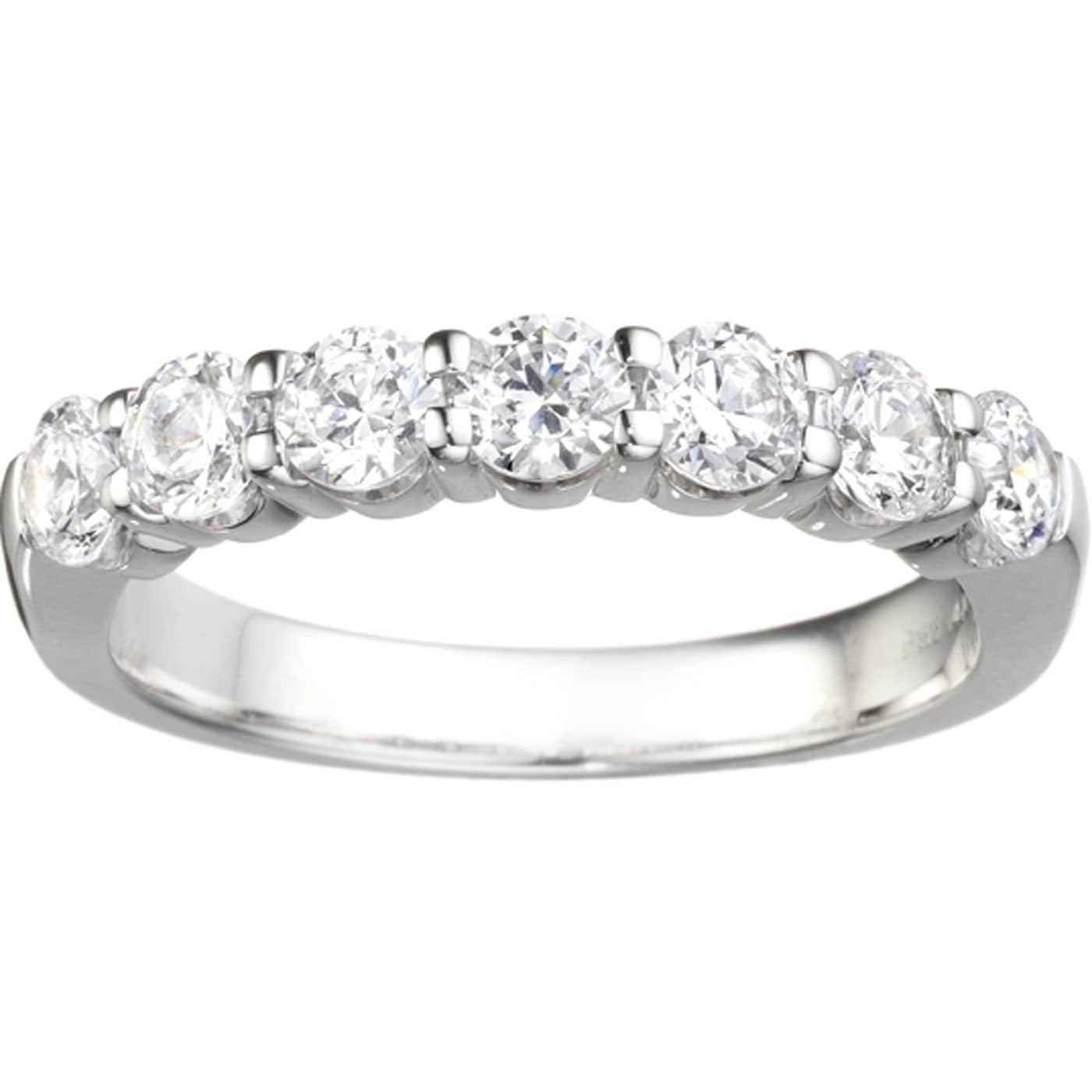 classic 7 stone band 42ct shared prong cubic zirconia set in