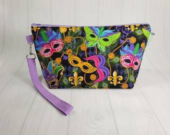 Mardi Gras Masks Knitting Project Bag - Zippered Wedge Bag, Zipper Knitting Bag, Cosmetic Bag, Sock Knitting Bag WS0068