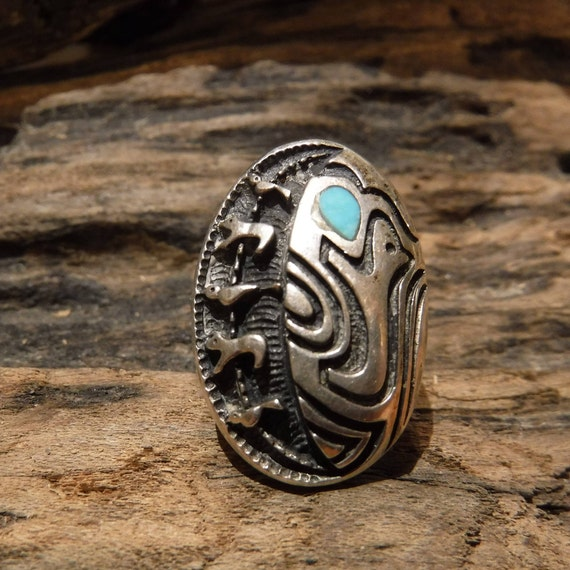Vintage Sterling Mens Ring Wolf Ring Navajo Native American Silver Ring 10.7 Grams Size 6.5 Sterling Silver Navajo Sterling Ring Mens Ring