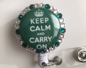 Keep Calm And Carry On ID Badge Holder GREEN