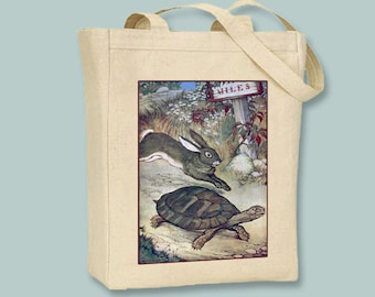 Vintage Fable Illustration of The Tortoise and the Hare on Natural or Black Canvas Tote -- Selection of sizes available
