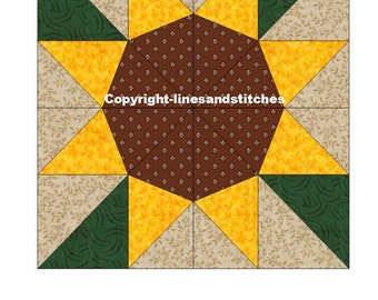 Sunflower Paper Pieced Quilt Block Pattern (PDF)