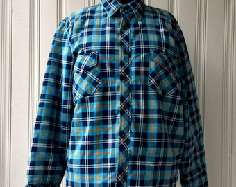 vintage Flannel Work Shirt Insulated blue plaid Bell Shirt Canadian Made Camping 1980s Quilted Lining Blue Plaid Cotton Poly Chest 46
